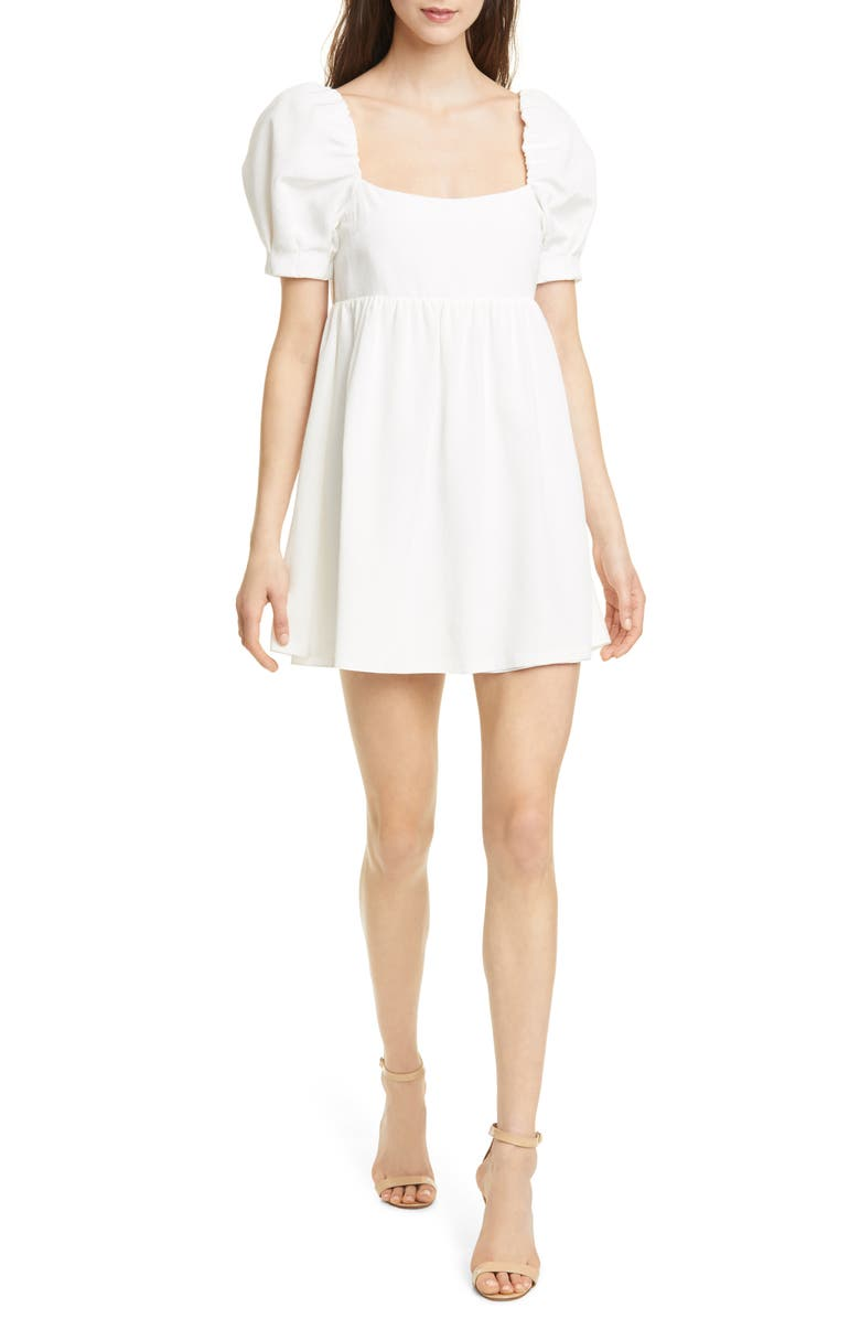 ALICE + OLIVIA Bauery Puff Sleeve Babydoll Dress, Main, color, 100