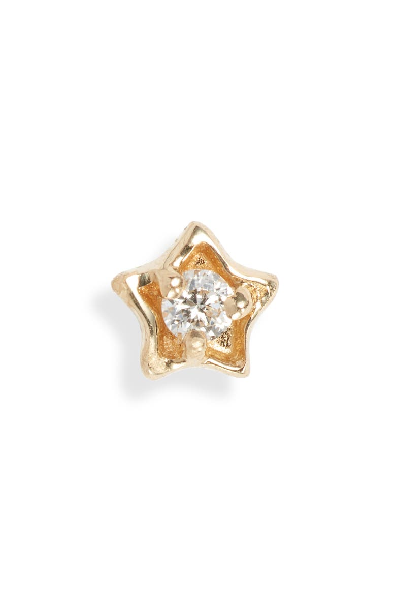 MARIA TASH Diamond Solitaire Star Stud Earring, Main, color, YELLOW GOLD/ DIAMOND