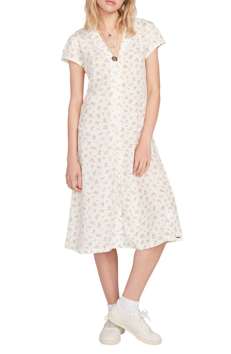 VOLCOM Read the Room Floral Print Midi Shirtdress, Main, color, 100