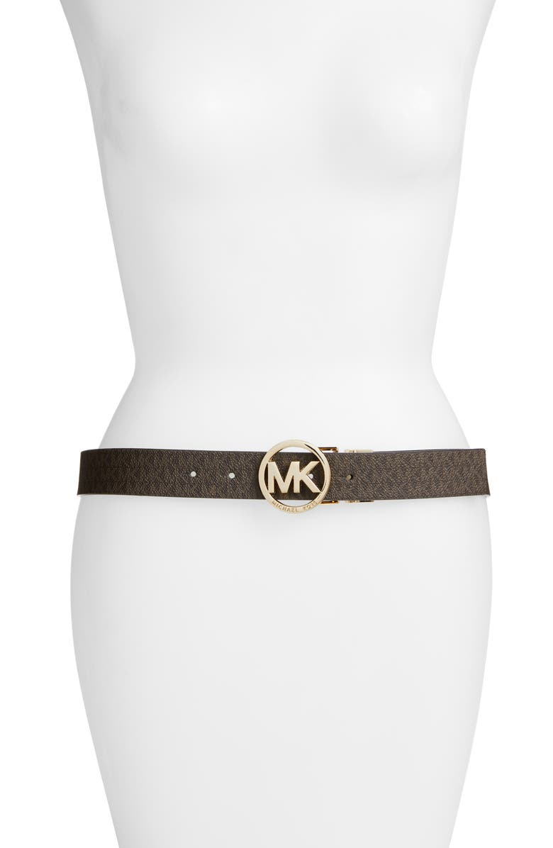 MICHAEL MICHAEL KORS Logo Reversible Leather Belt, Main, color, CHOCOLATE/ BLACK