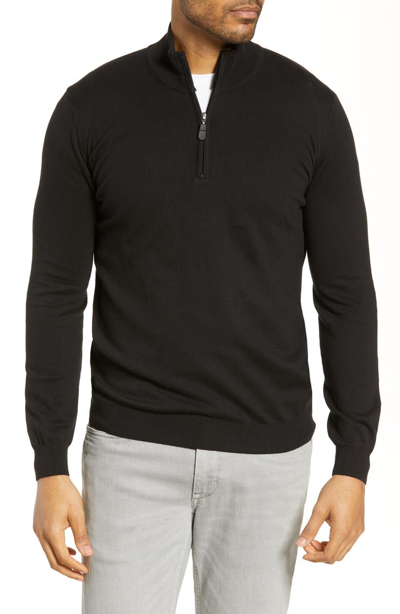BUGATCHI Half Zip Sweater, Main, color, 001