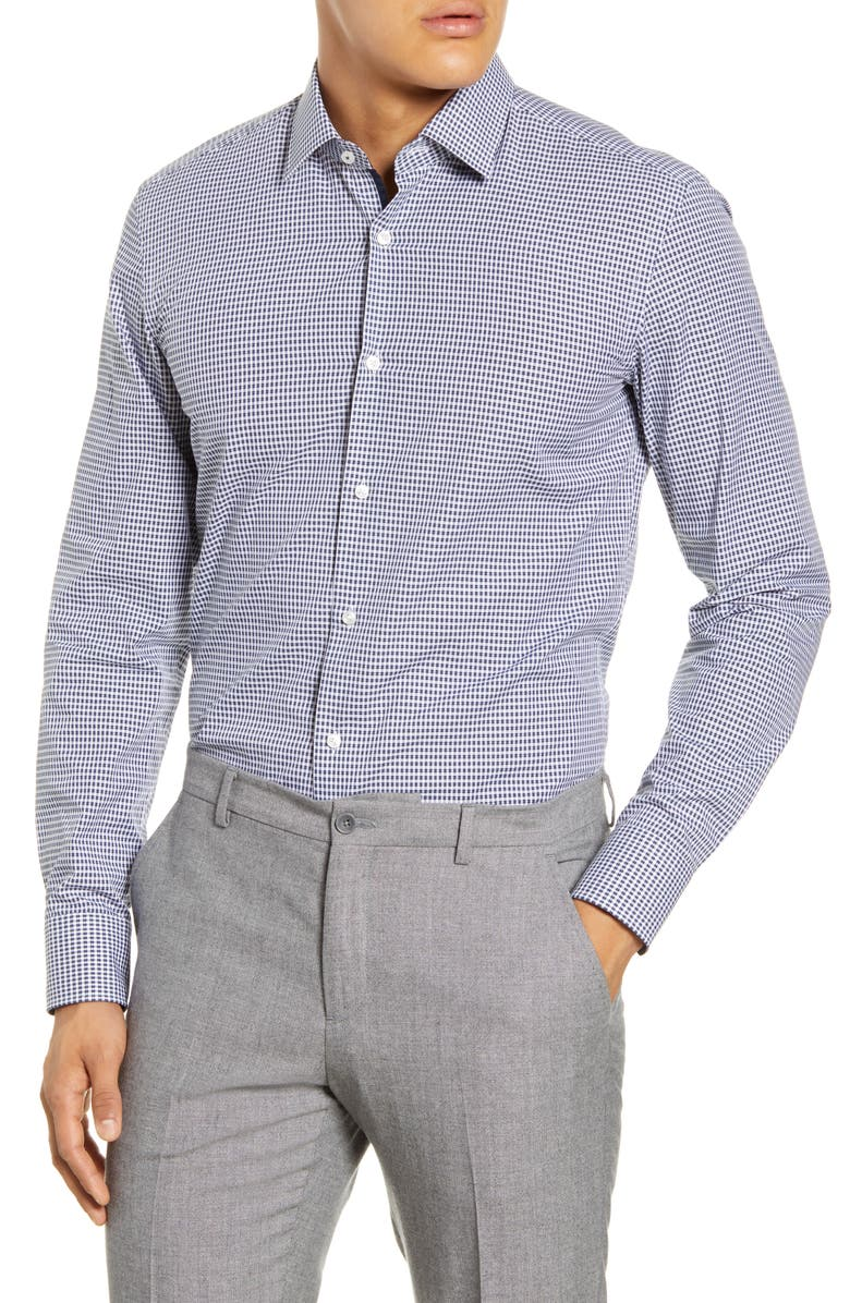 BOSS Slim Fit Check Dress Shirt, Main, color, DARK BLUE