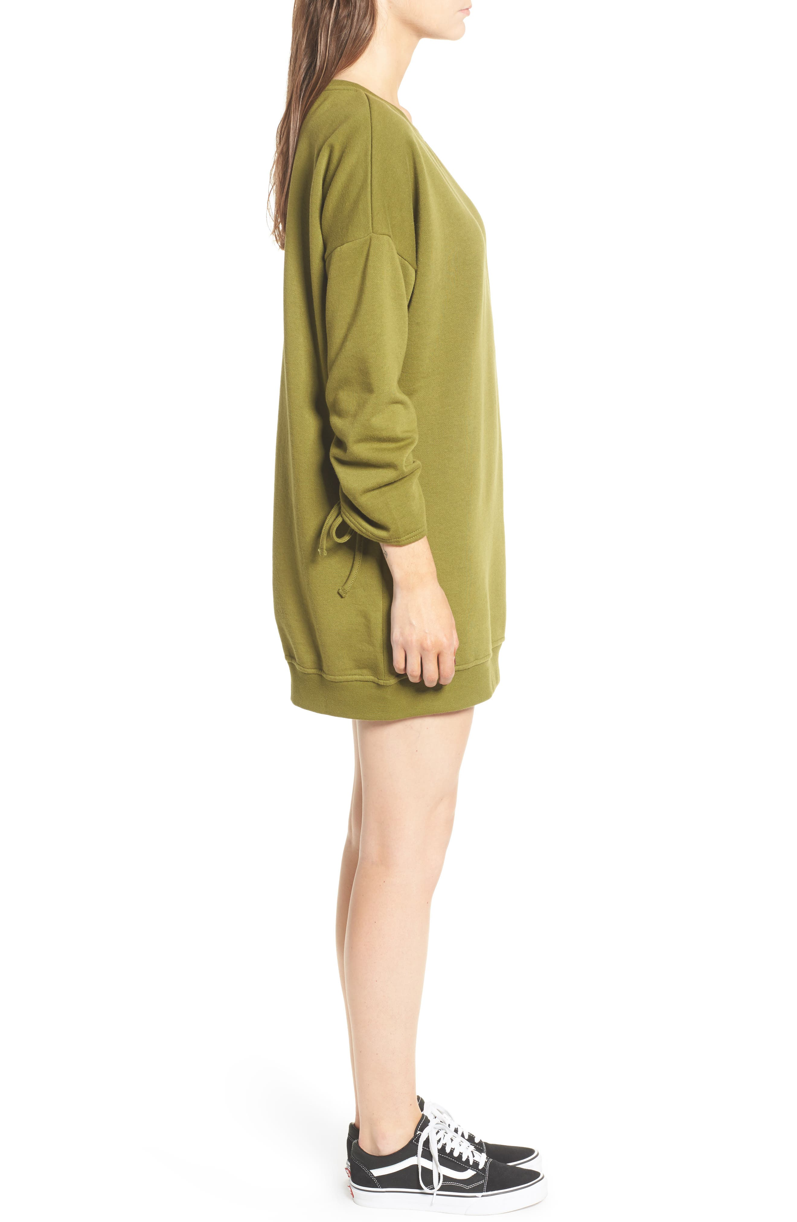 ,                             Ruched Sleeve Sweatshirt Dress,                             Alternate thumbnail 9, color,                             300