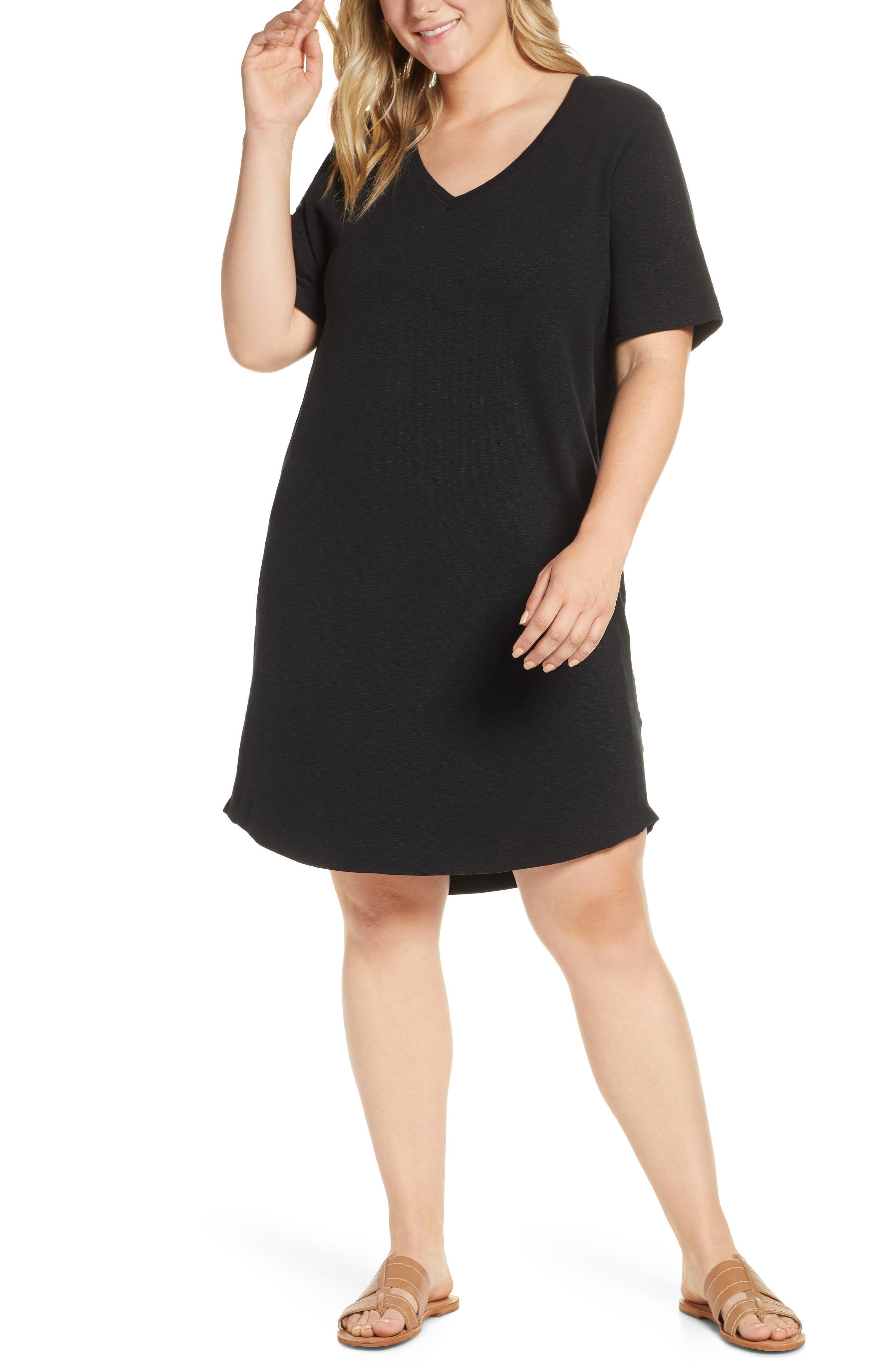 ,                             Slub Knit Dress,                             Alternate thumbnail 4, color,                             001
