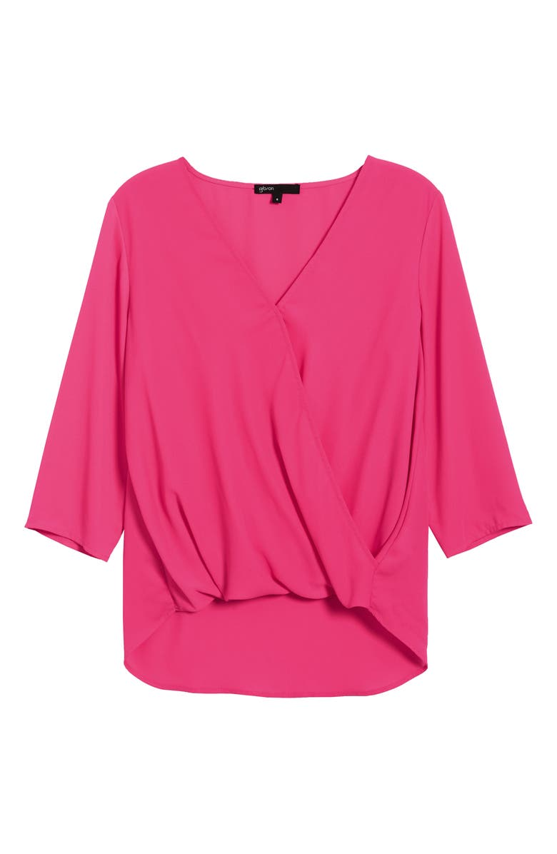 GIBSON Surplice Blouse, Main, color, PERFECT PINK