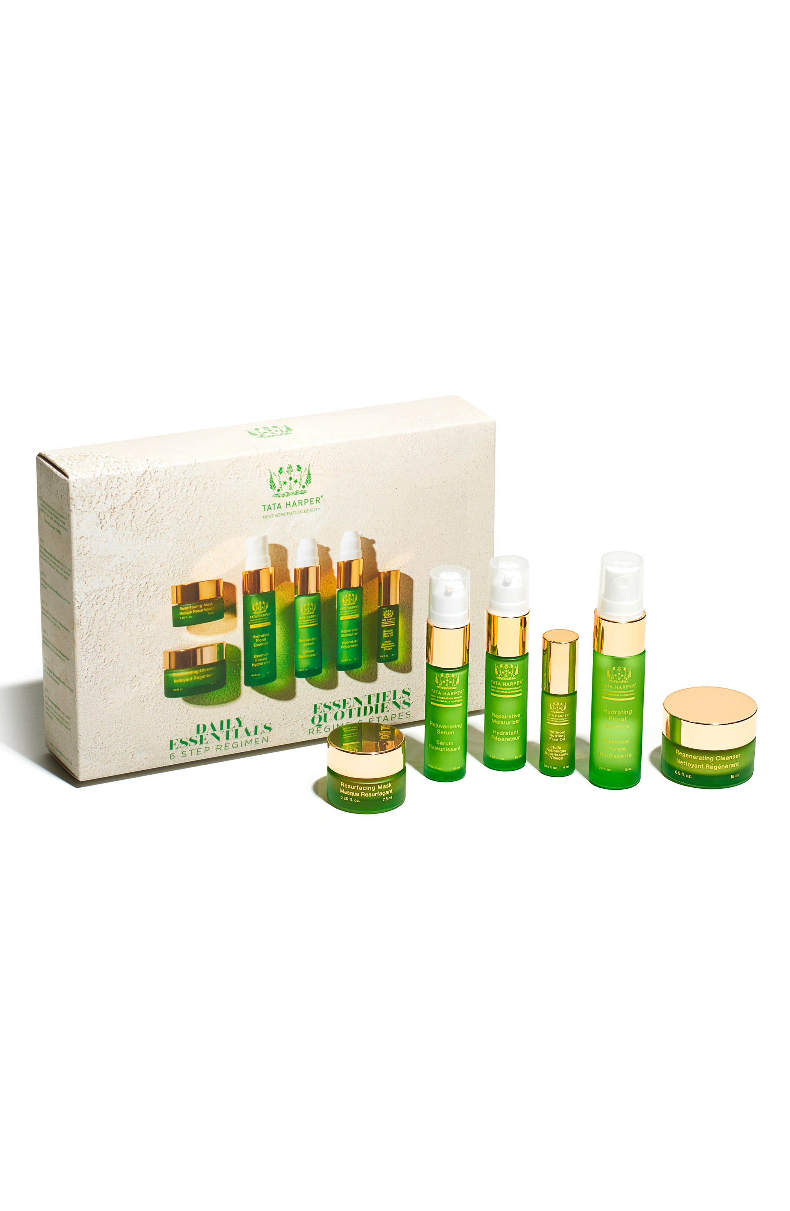 What it is: A complete, travel-friendly regimen with seven of Tata Harper\\\'s all-time green beauty bestsellers. Set includes:- Repairative Moisturizer (0.34 oz.): an ultra-hydrating formula ideal for those with dehydrated skin during the winter months or in dry climates- Rejuvenating Serum (0.34 oz.): an award-winning serum is formulated to visibly minimize the signs of aging, to reduce the appearance of fine lines and wrinkles while restoring