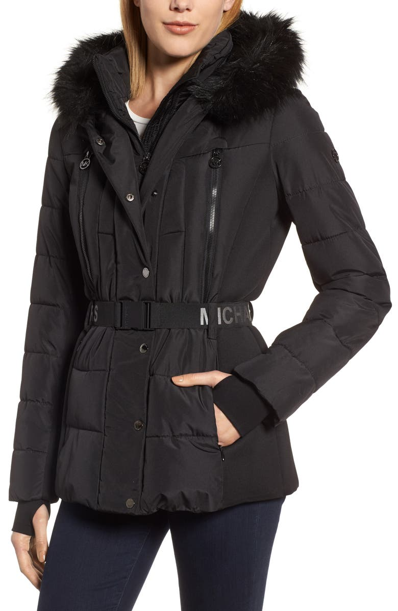 MICHAEL MICHAEL KORS Belted Down Puffer Jacket with Faux Fur Trim, Main, color, 001