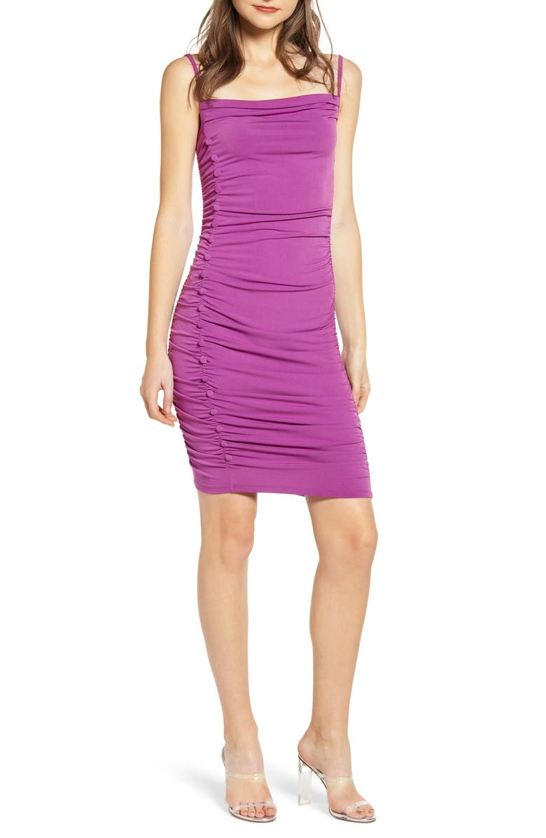 LEITH Ruched Side Button Body-Con Dress, Main, color, PURPLE ATRIUM