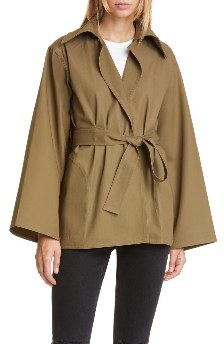 SOFIE D'HOORE Belted Cotton Twill Coat, Main, color, KHAKI
