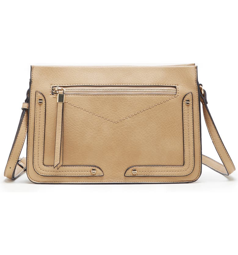 SOLE SOCIETY Ledo Faux Leather Crossbody Bag, Main, color, SAFARI