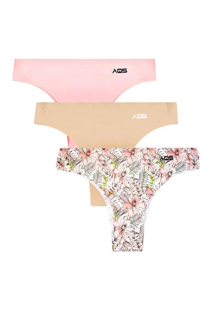 Image of AQS Assorted Seamless Thong Panties - Pack of 3