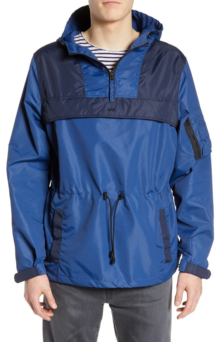 ALPHA INDUSTRIES Colorblock Hooded Anorak, Main, color, BLUE NO. 9