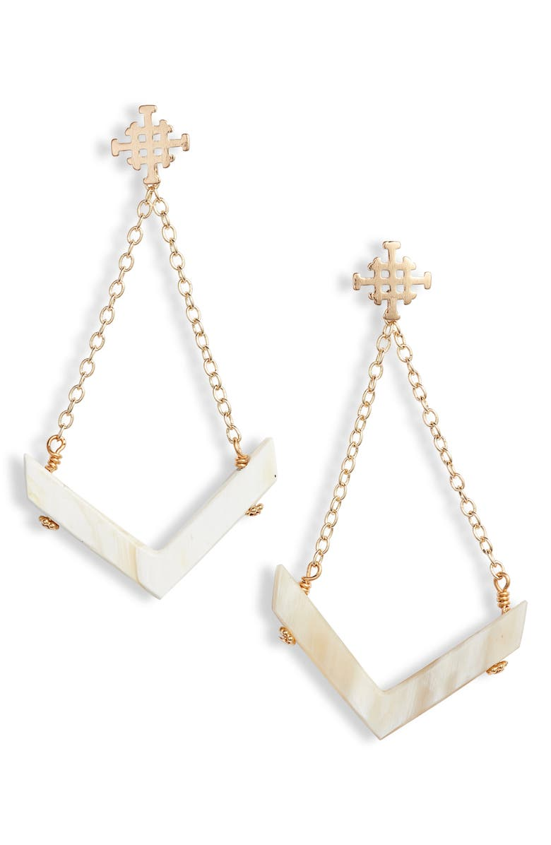 AKOLA Kali Drop Earrings, Main, color, BLONDE