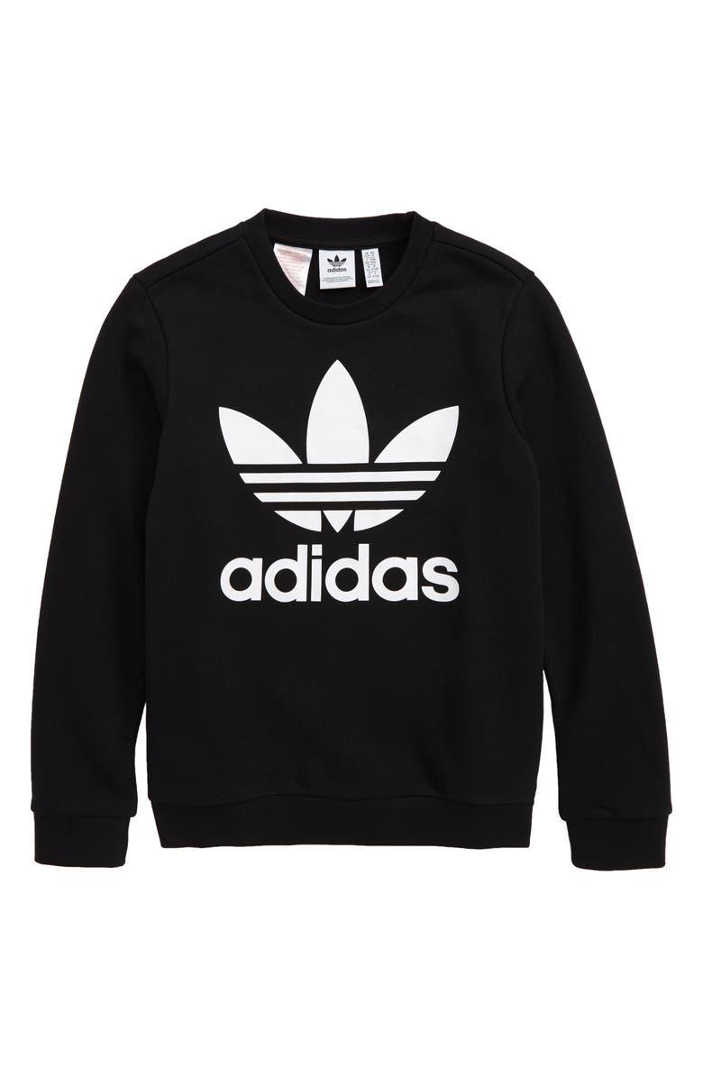 ADIDAS ORIGINALS Trefoil Sweatshirt, Main, color, BLACK/ WHITE