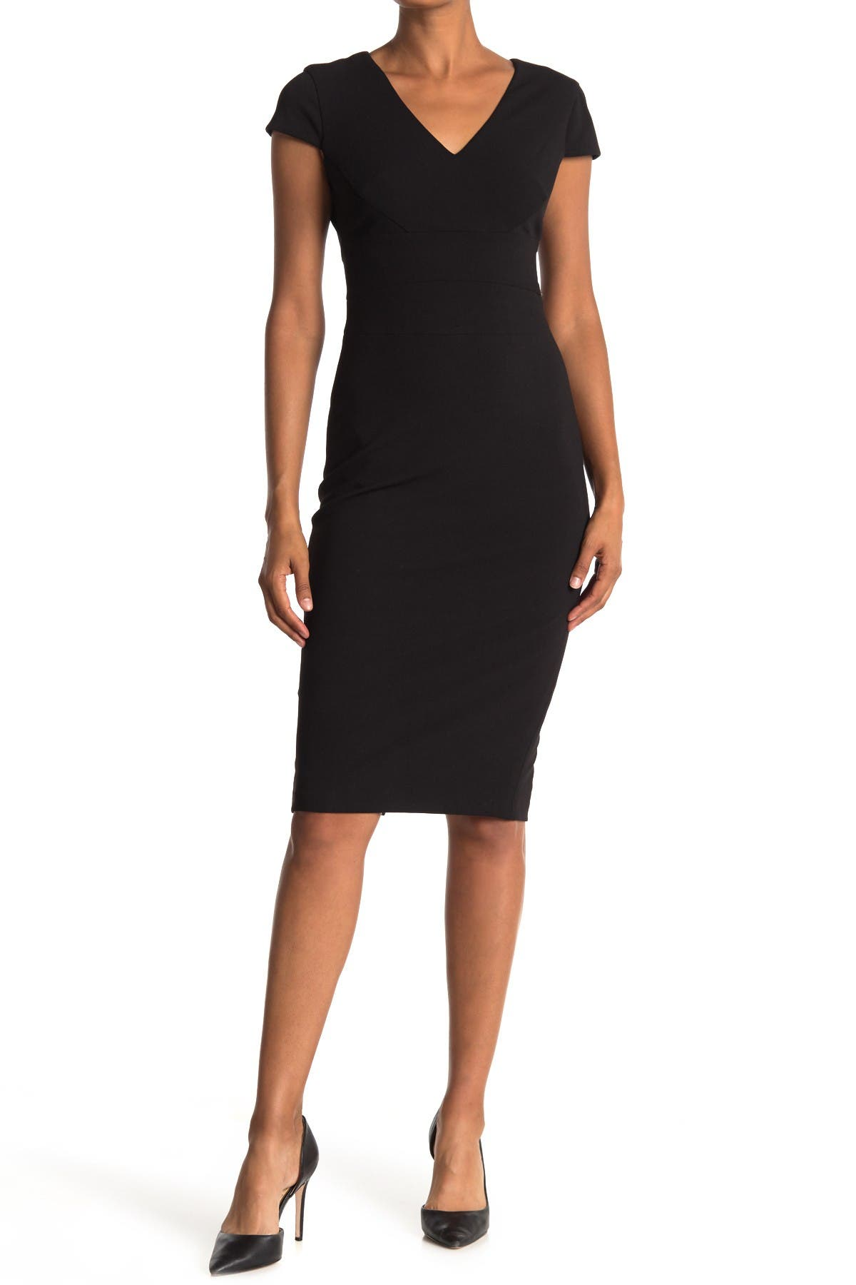 Image of Donna Morgan Cap Sleeve Fitted Crepe Dress