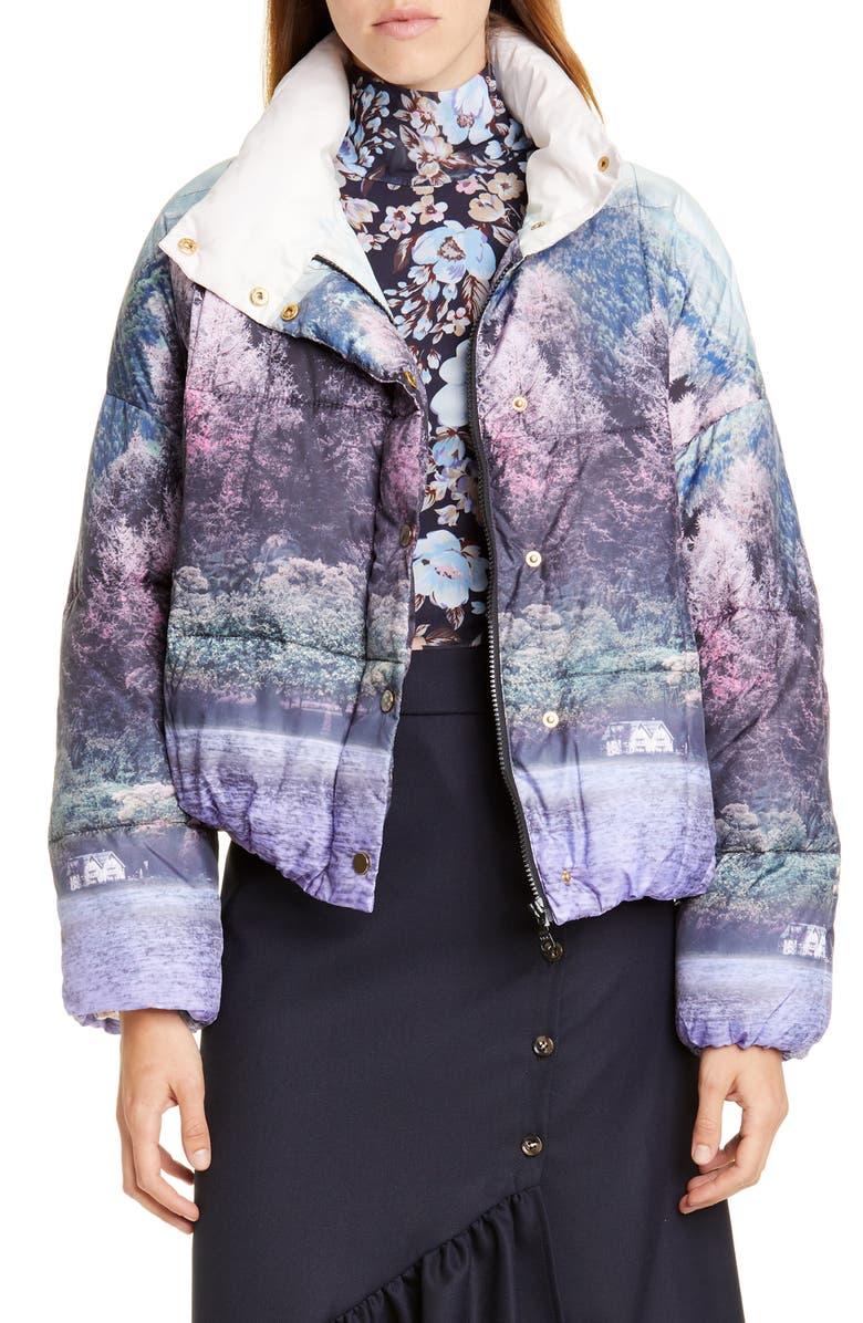 BAUM UND PFERDGARTEN Brietta Graphic Puffer Jacket, Main, color, WONDERLAND