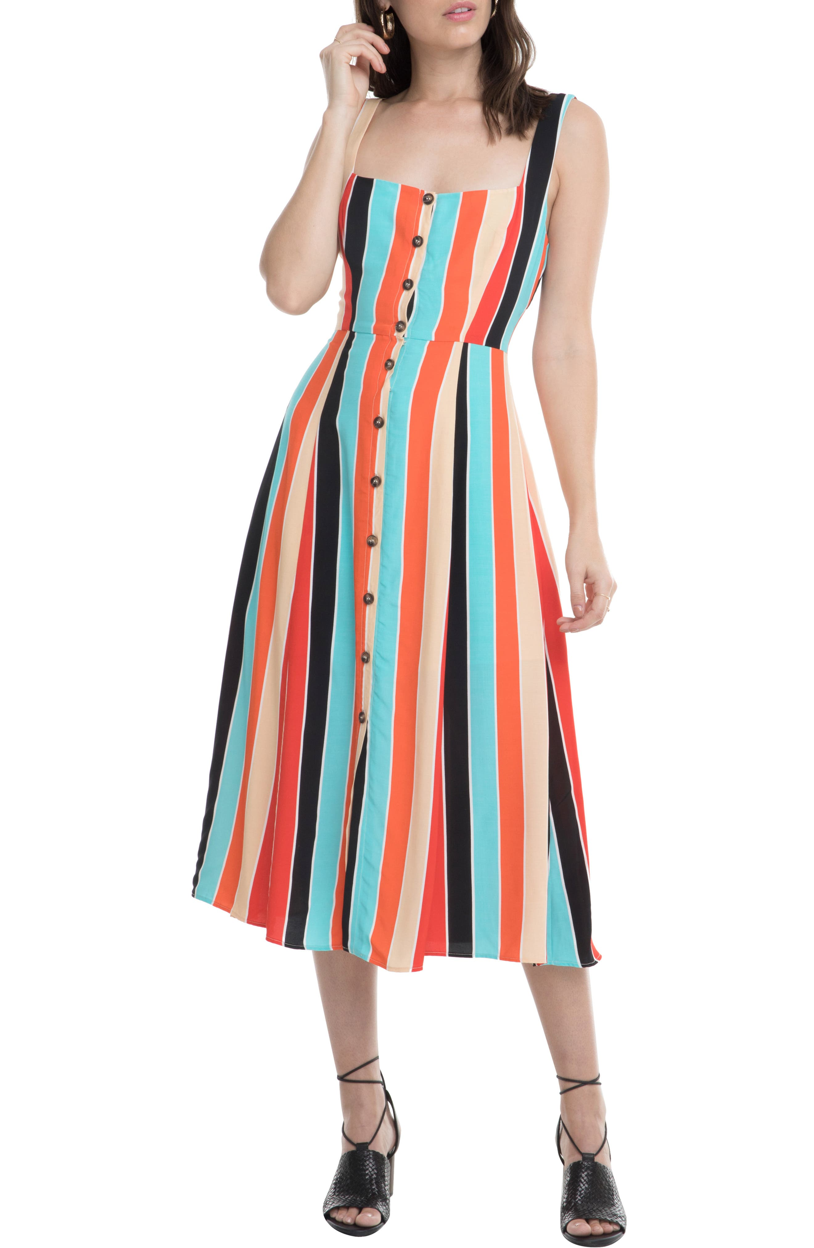 Astr The Label Stripe Midi Dress, Orange