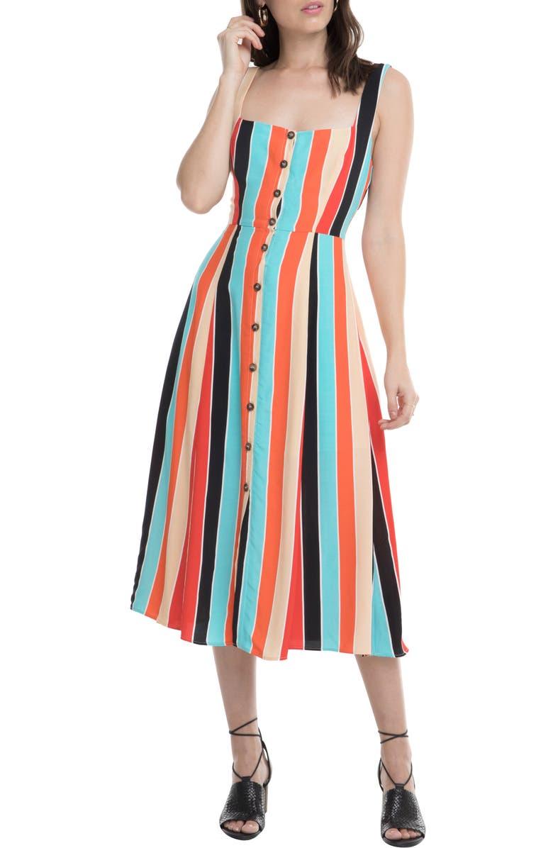 ASTR THE LABEL Stripe Midi Dress, Main, color, AQUA/ ORANGE STRIPE
