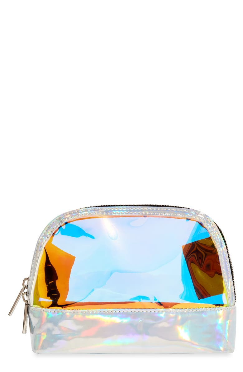 SKINNYDIP Peek Dazzle Makeup Bag, Main, color, HOLOGRAPHIC