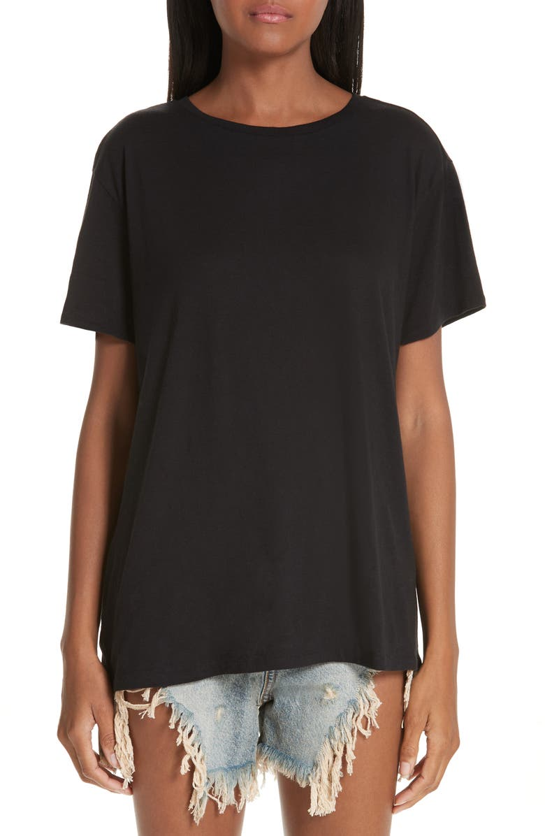 R13 Boy Cotton & Cashmere Tee, Main, color, BLACK