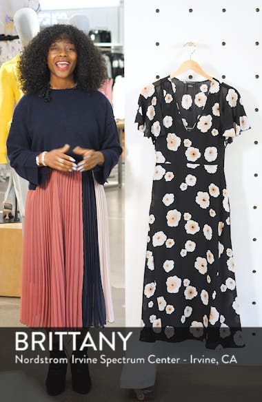 Zameeka Floral Print Silk Midi Dress, sales video thumbnail