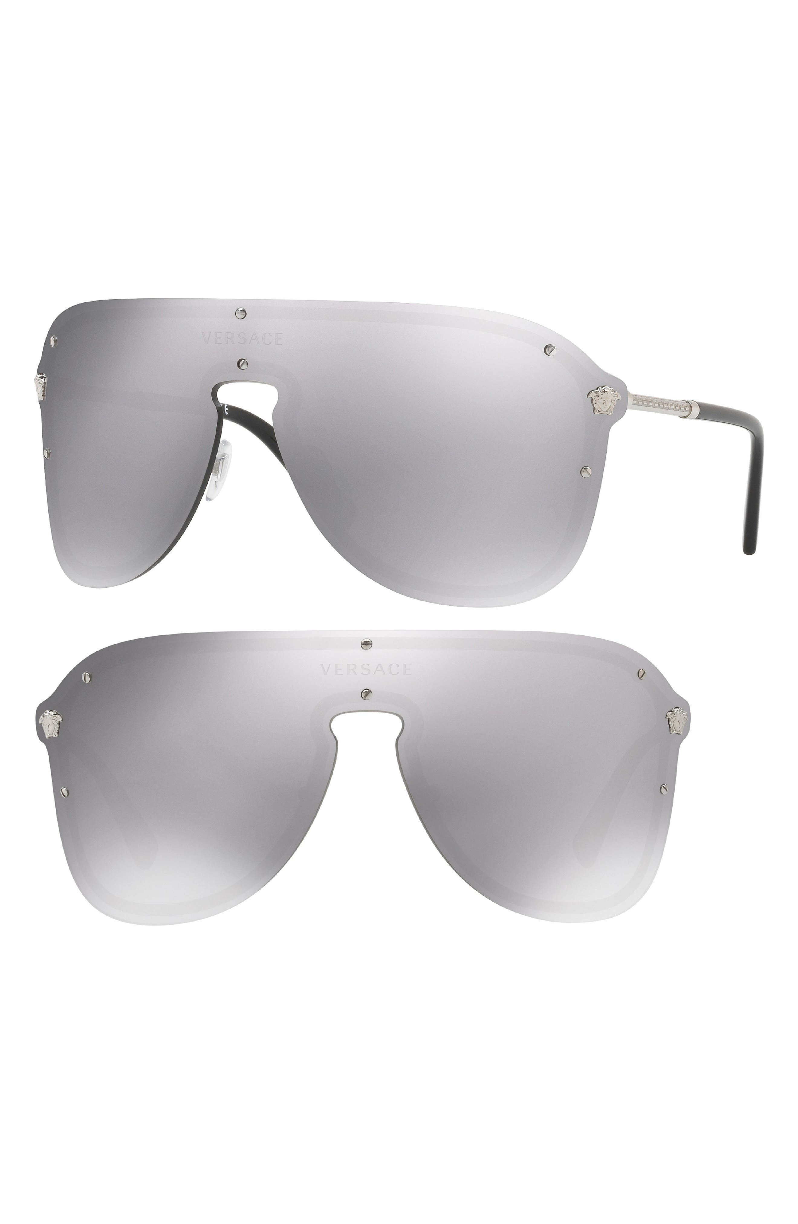 80s Fashion— What Women Wore in the 1980s Womens Versace 150mm Shield Sunglasses - Mirror Silver $295.00 AT vintagedancer.com