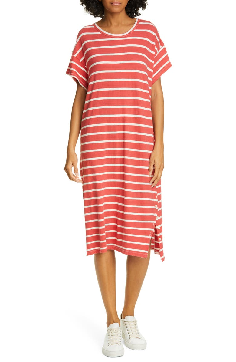 THE GREAT. The Button Side Midi T-Shirt Dress, Main, color, CARDINAL STRIPE