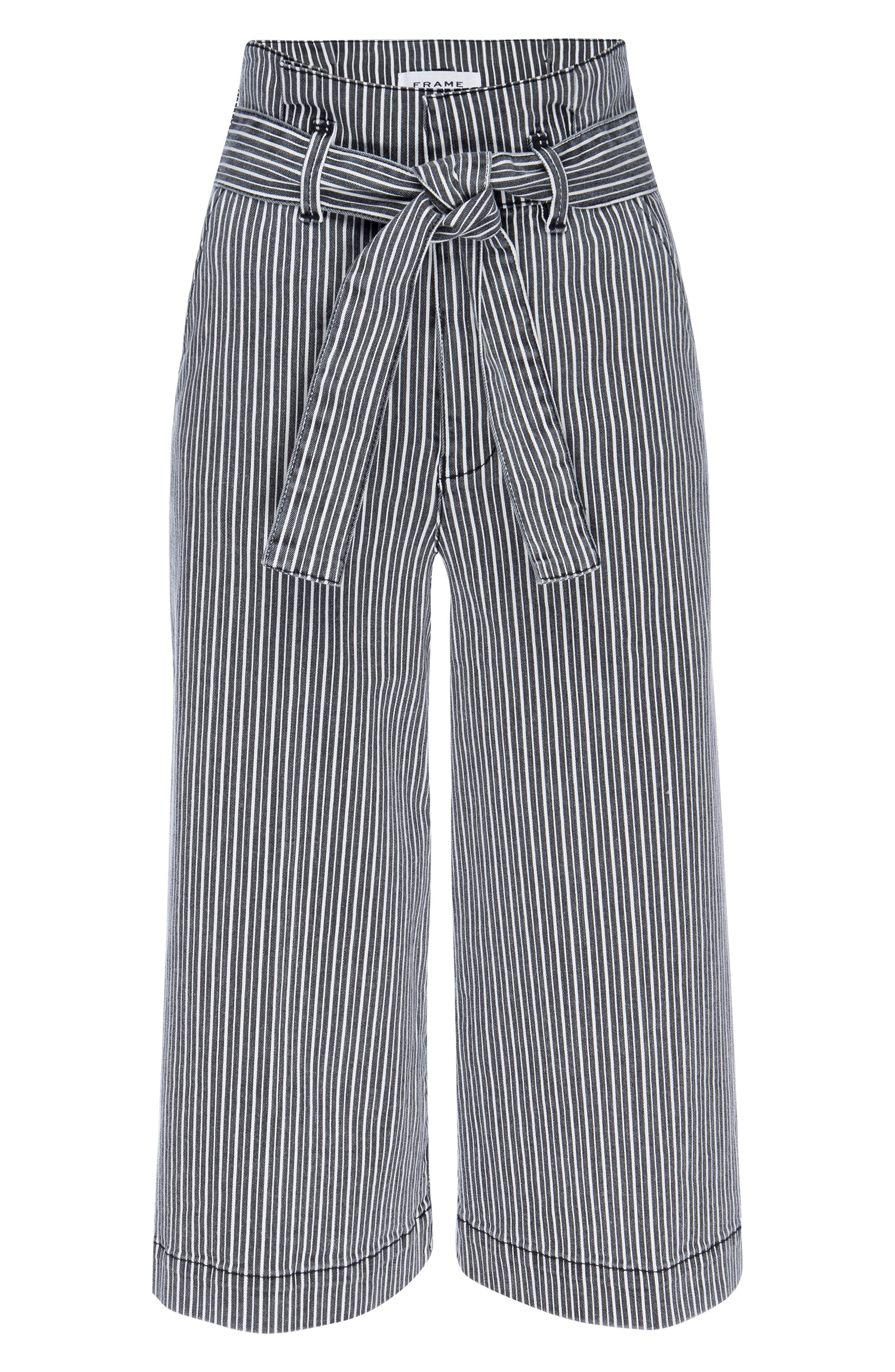 Image of FRAME Stripe Waist Belt Pleated Culotte Pants