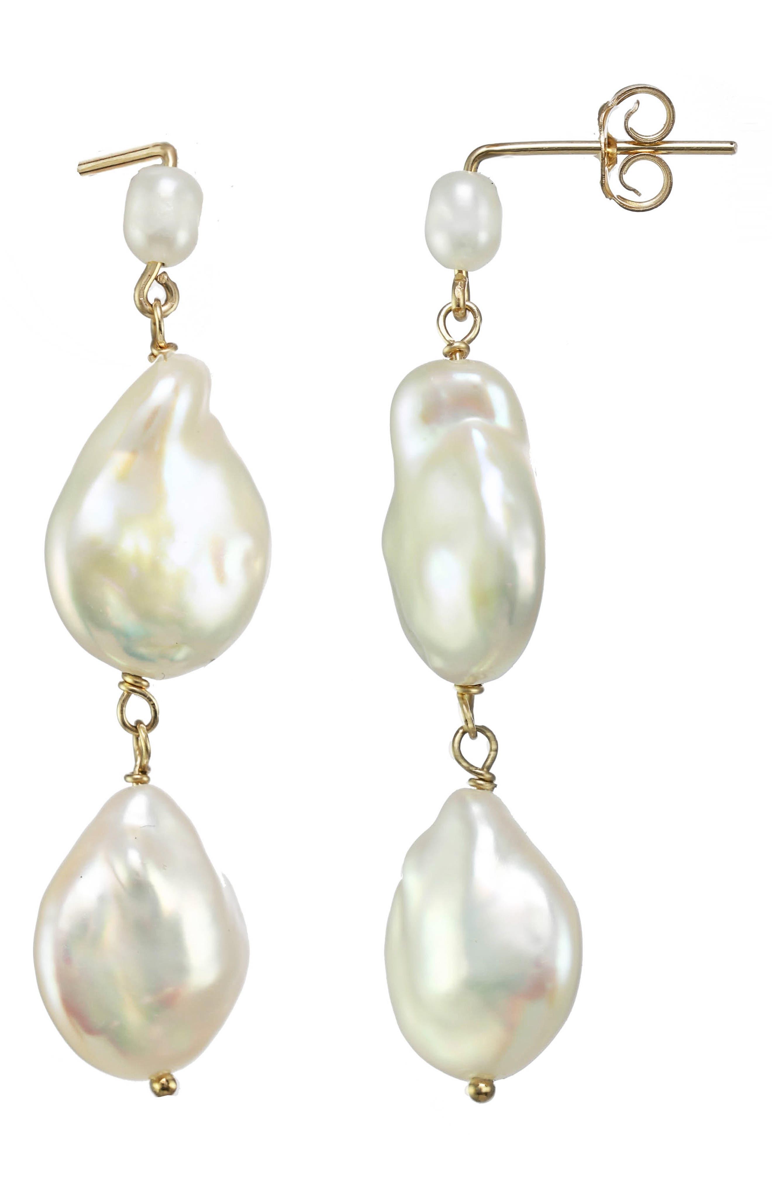 Karo Genuine Pearl Linear Drop Earrings