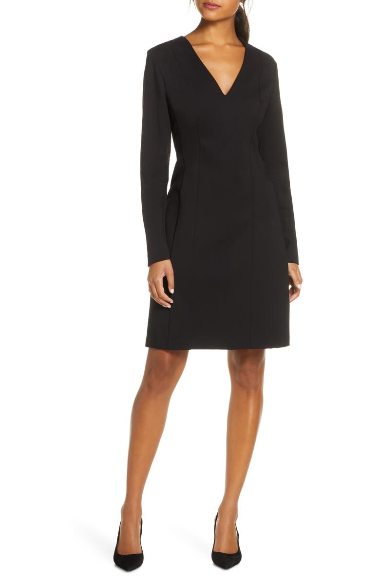 FOREST LILY Ponte Knit Long Sleeve Sheath Dress, Main, color, BLACK