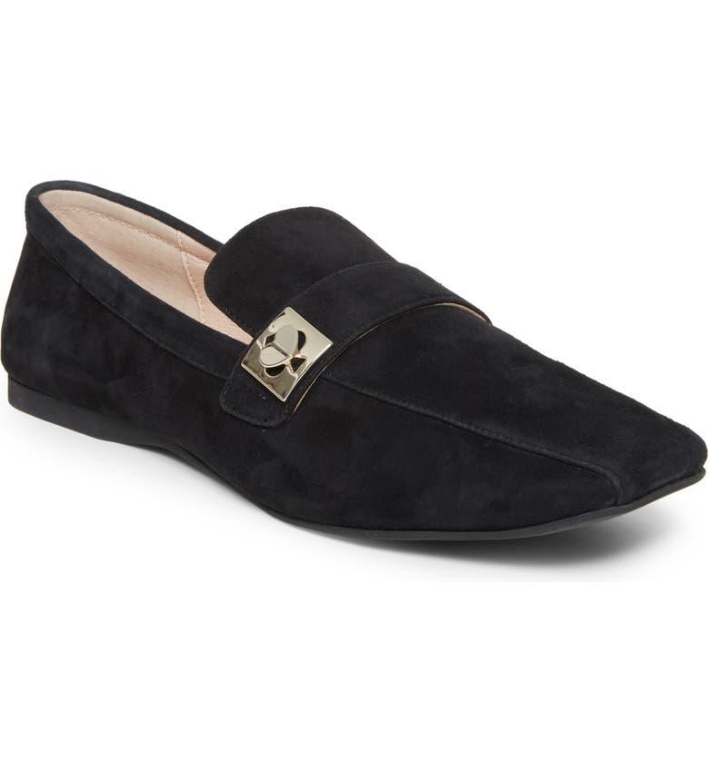 KATE SPADE NEW YORK darien loafer, Main, color, BLACK SUEDE