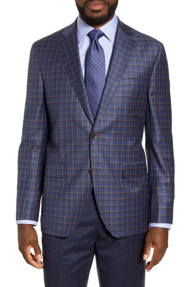 DAVID DONAHUE Arnold Classic Fit Plaid Wool Sport Coat, Main, color, 400