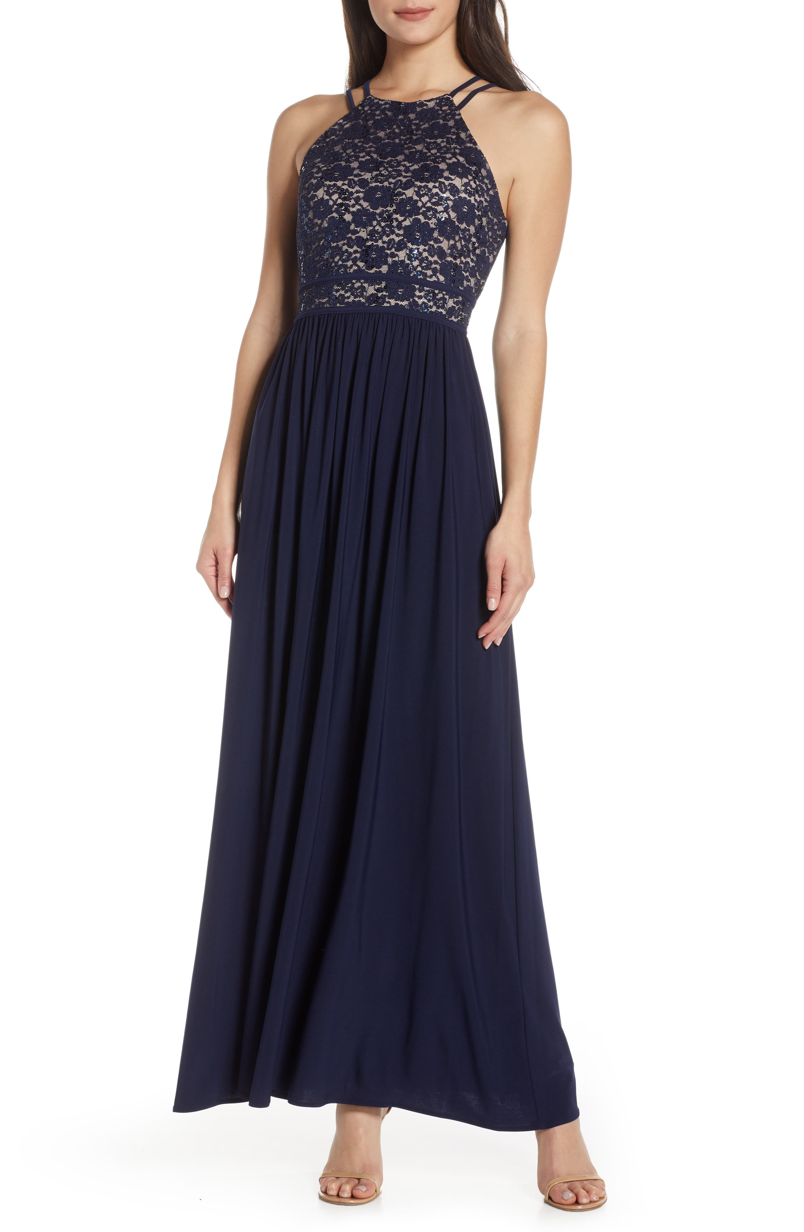 Morgan & Co. Lace Bodice Evening Gown, Blue
