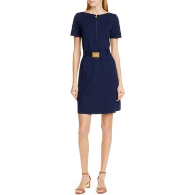 Tory Burch Fit & Flare Ponte Knit Dress, Blue