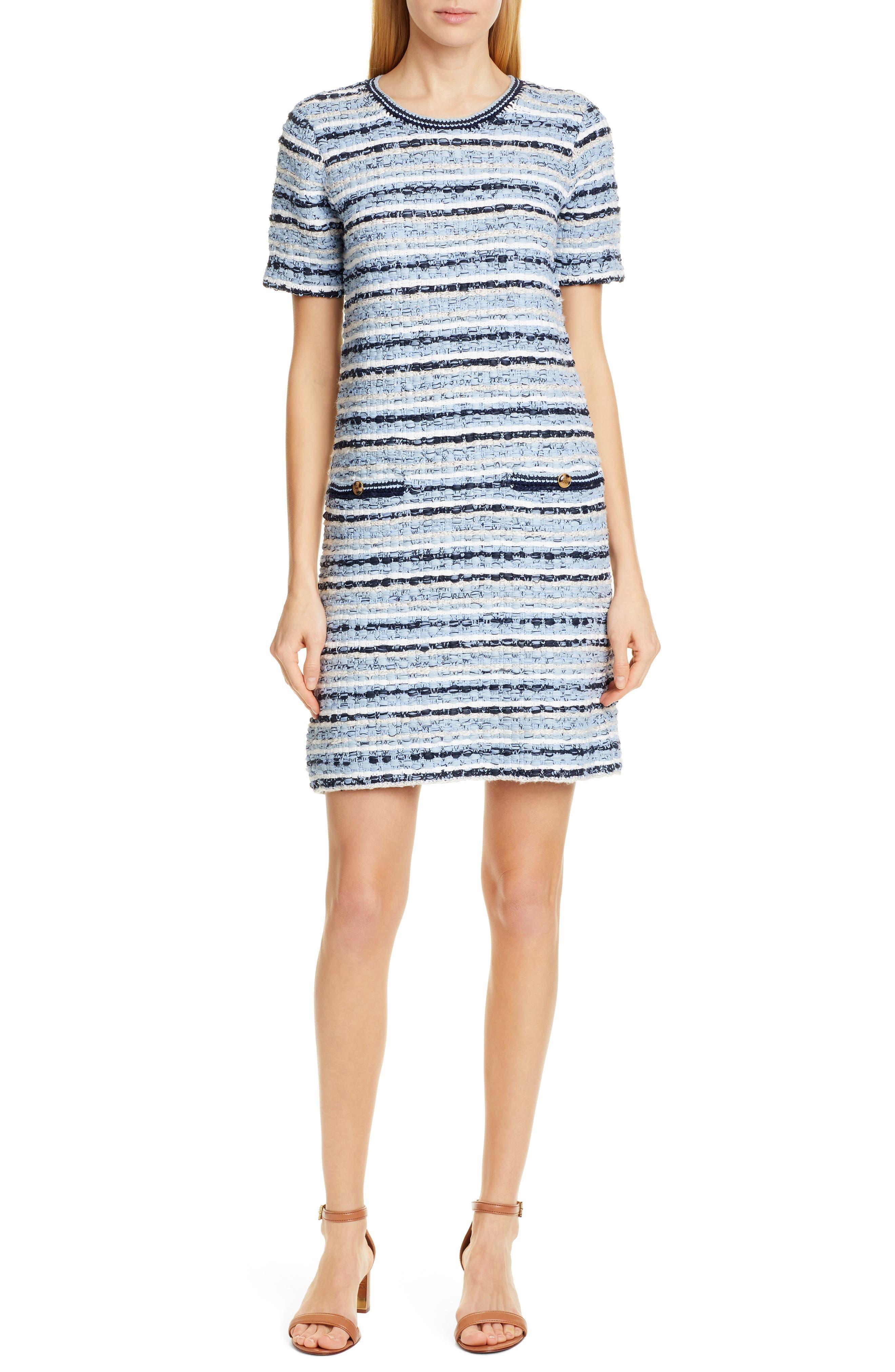 ,                             Tweed Shift Dress,                             Main thumbnail 1, color,                             BLUE MULTI TWEED