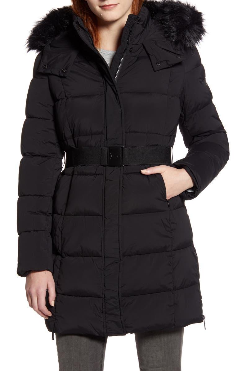 SAM EDELMAN Removable Faux Fur Trim Belted Puffer Coat, Main, color, BLACK
