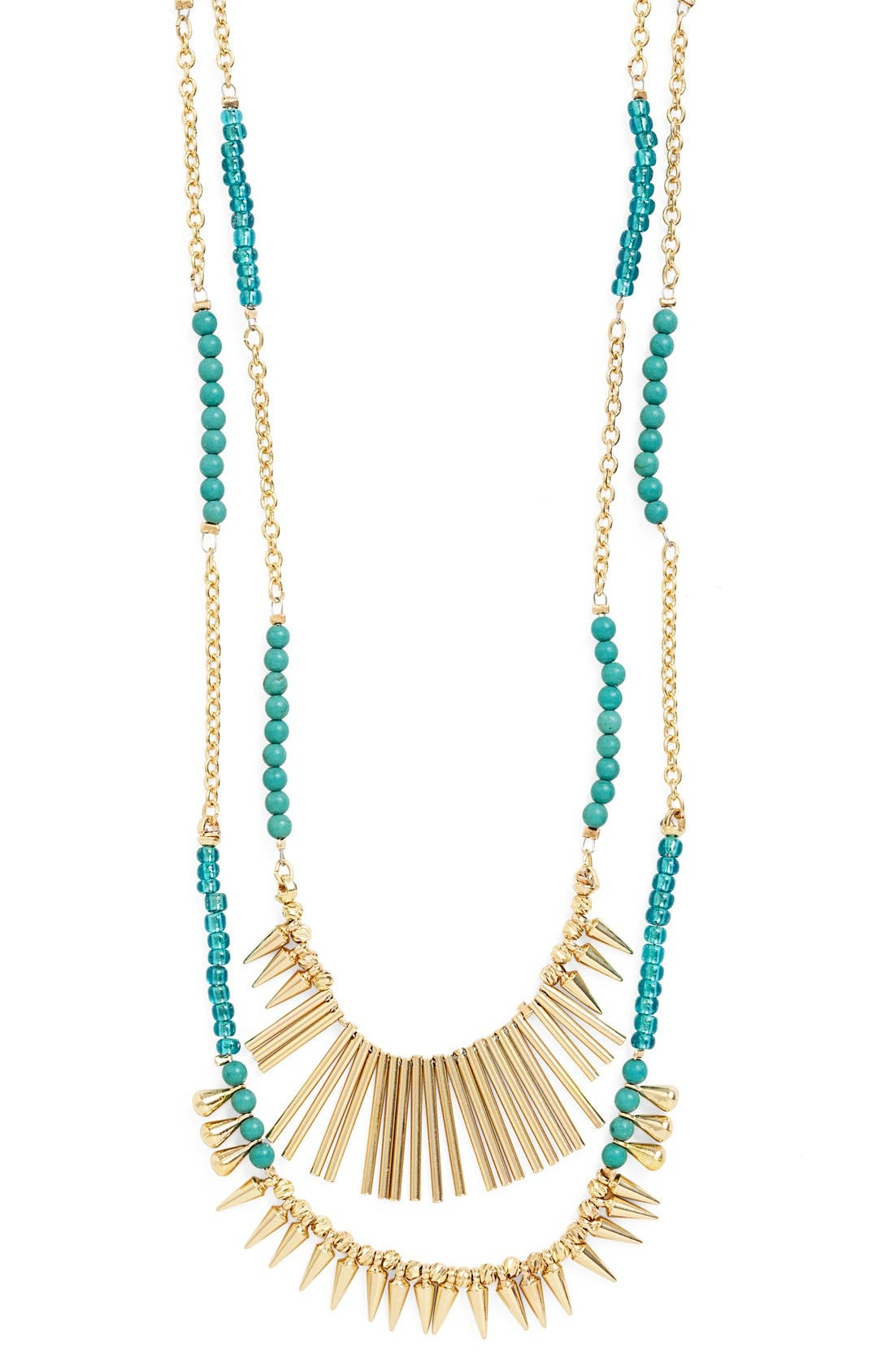 ,                             Beaded Fringed Two-Row Necklace,                             Alternate thumbnail 5, color,                             400