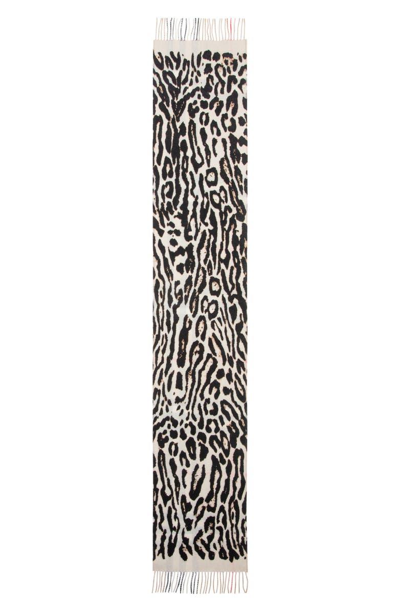 BURBERRY Giant Check/Leopard Spot Cashmere Scarf, Main, color, LEOPARD