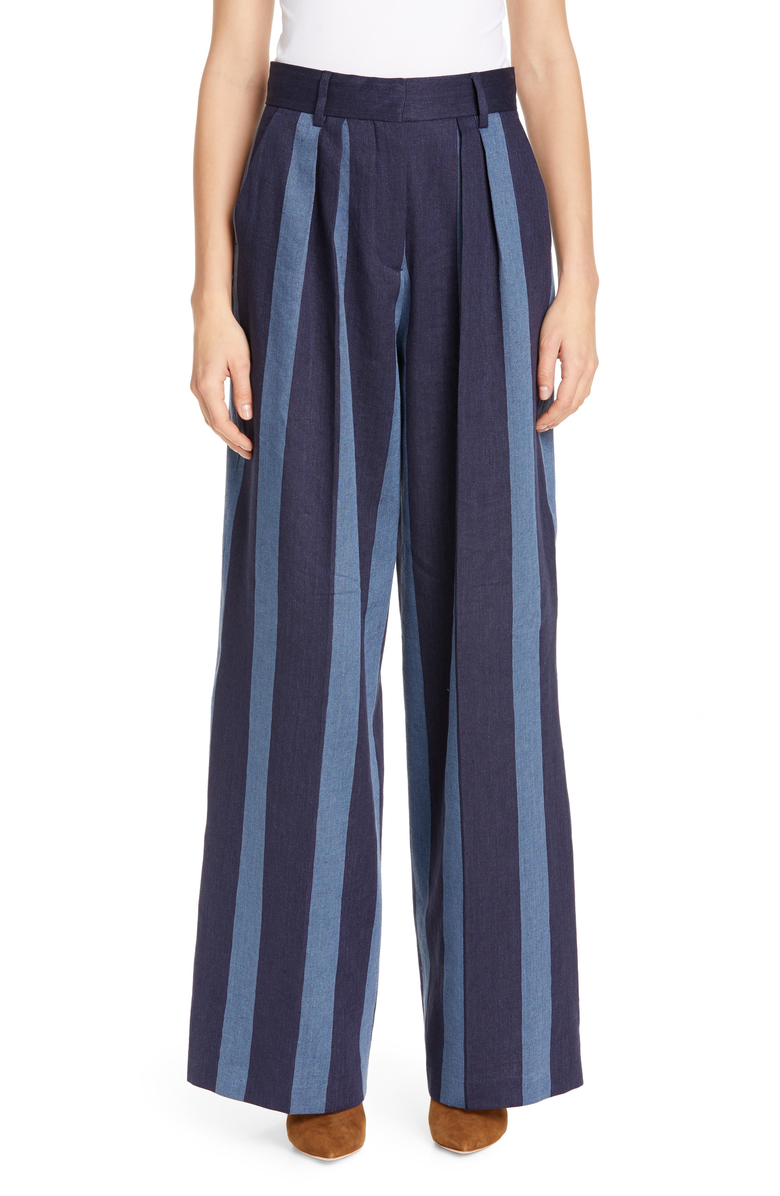 Stripe Denim Pants, Main, color, STRIPED DENIM