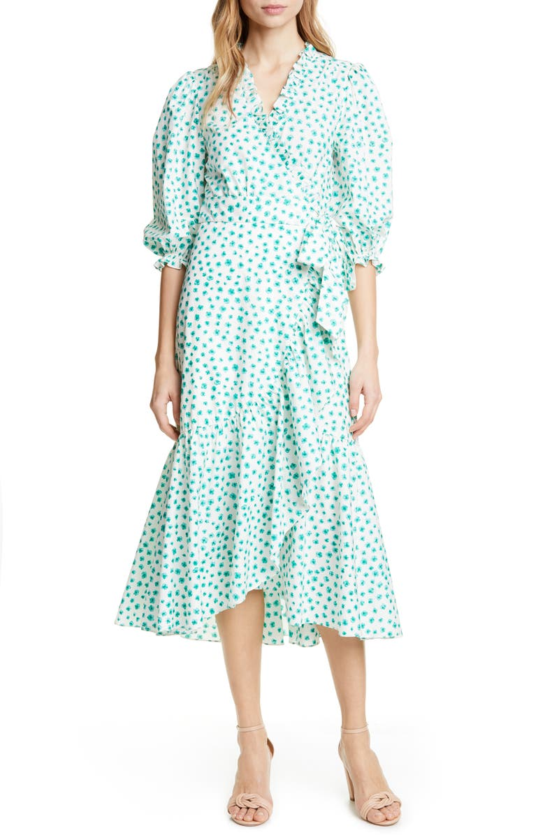 REBECCA TAYLOR Emerald Daisy Ruffle Detail Cotton Dress, Main, color, 900
