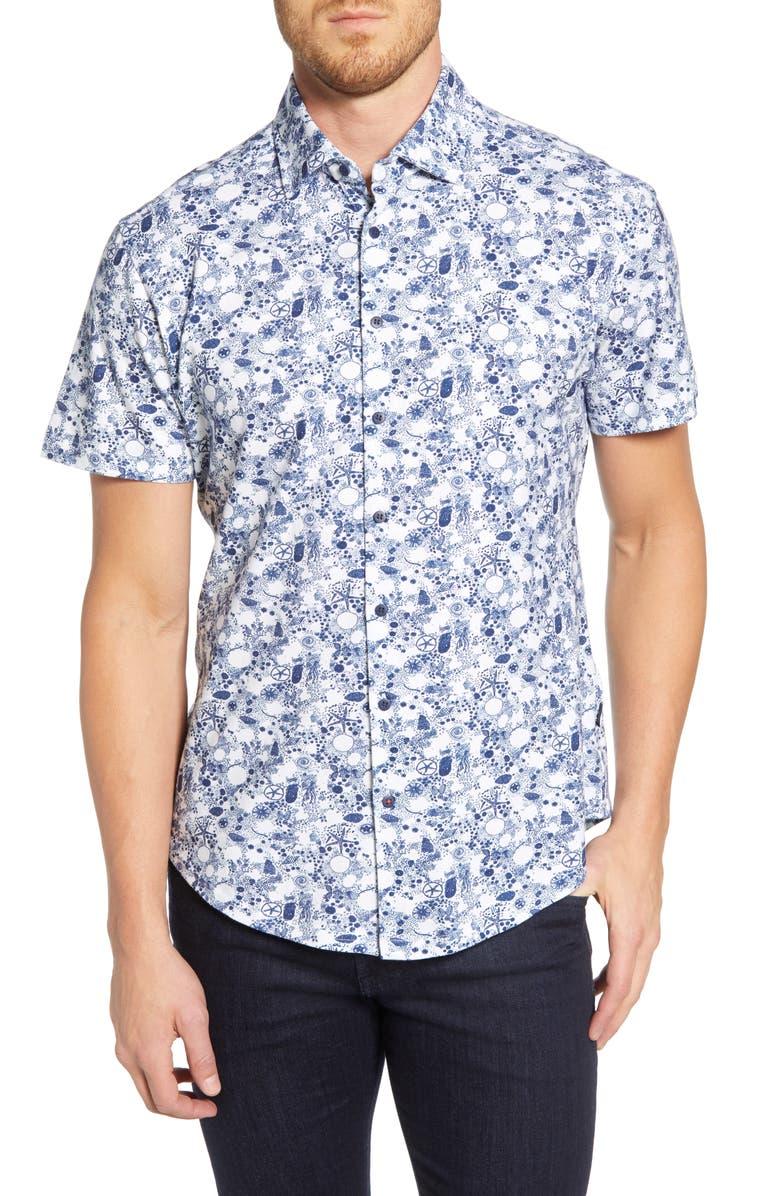 STONE ROSE Shell Print Regular Fit Knit Shirt, Main, color, 410