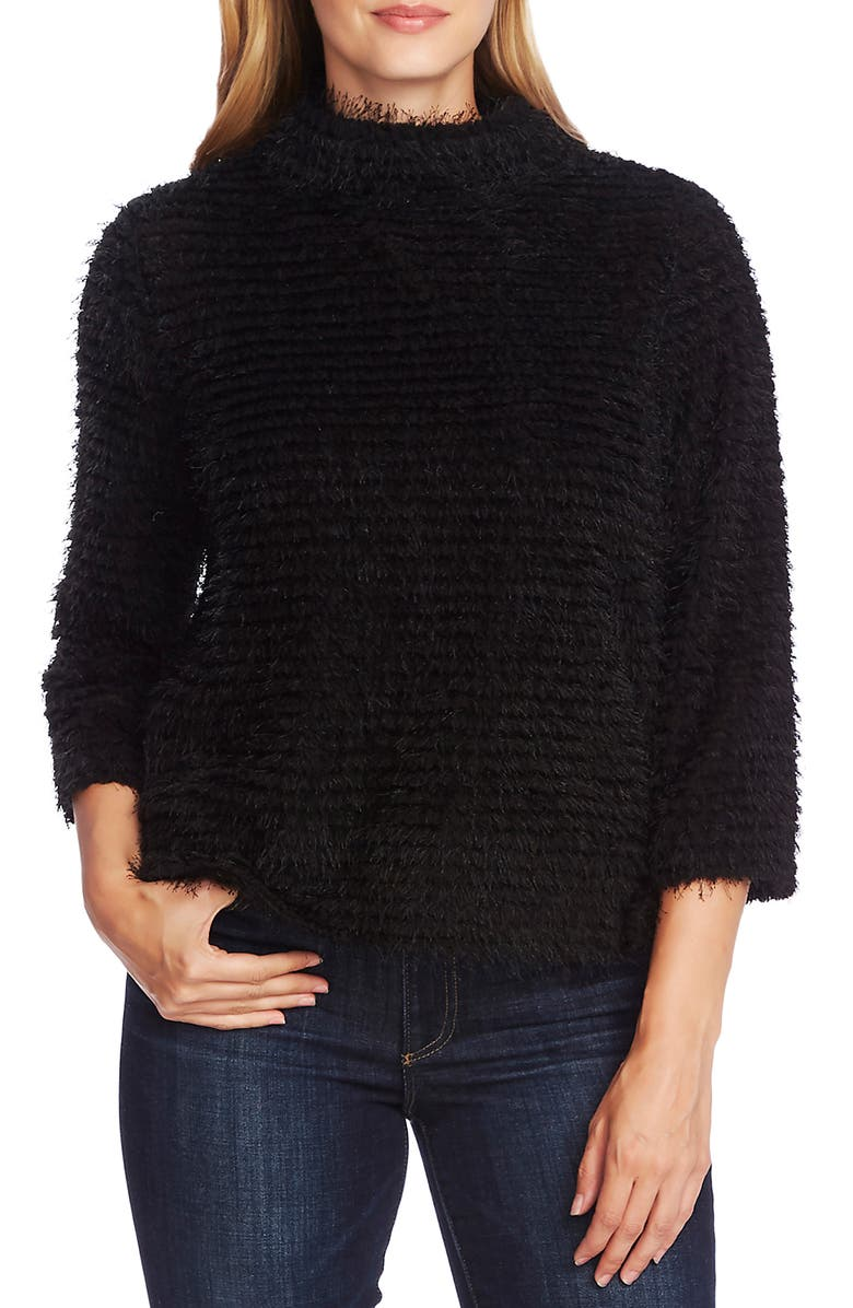 VINCE CAMUTO Eyelash Fringe Stripe Sweater, Main, color, RICH BLACK