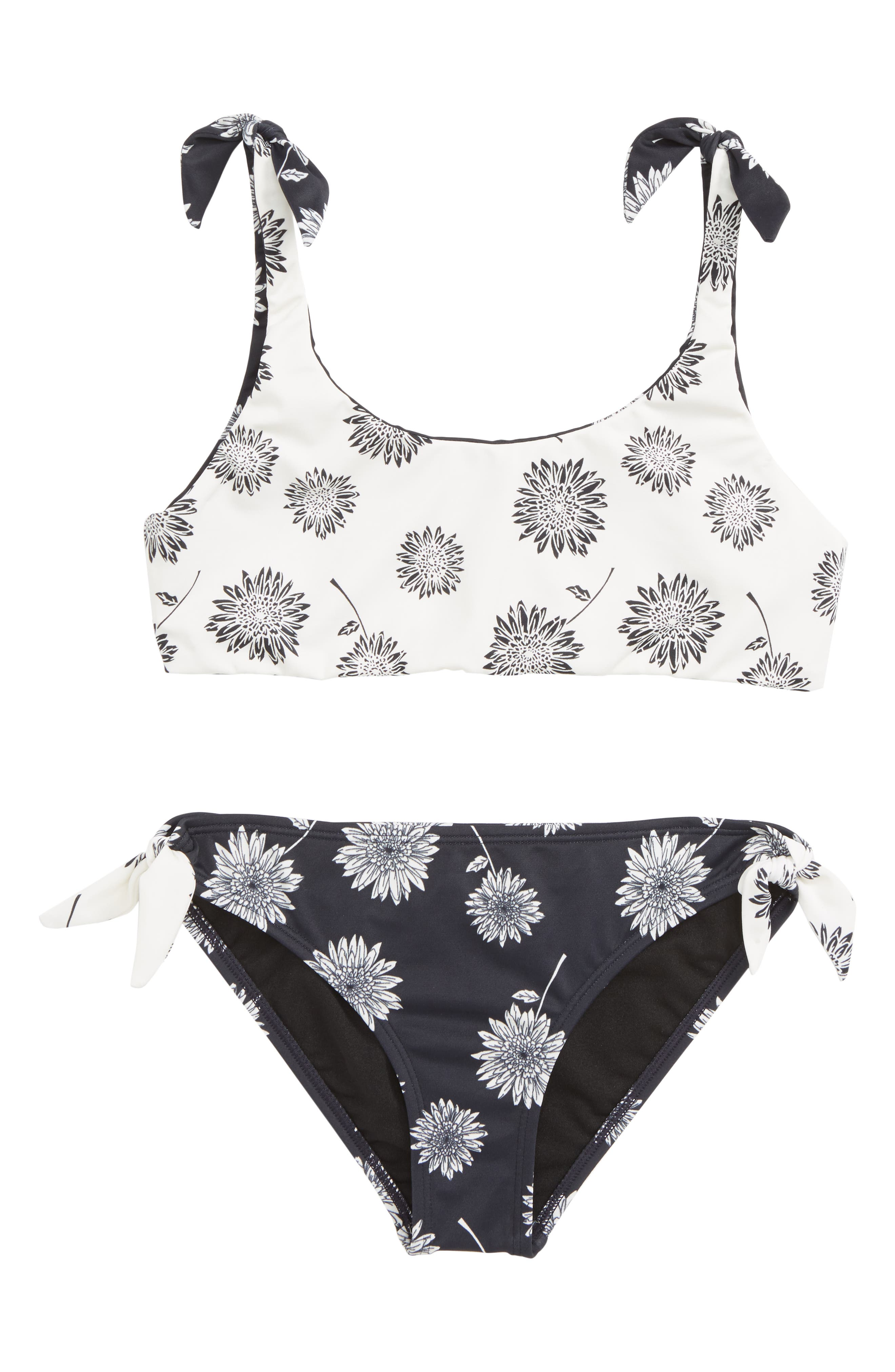 ,                             Daisy Day Reversible Two-Piece Swimsuit,                             Alternate thumbnail 2, color,                             BLACK