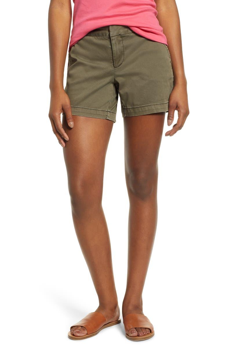 CASLON<SUP>®</SUP> Cotton Twill Shorts, Main, color, OLIVE SARMA