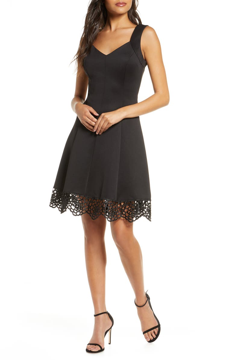 DONNA RICCO Lace Trim Sweetheart Neck Fit & Flare Dress, Main, color, BLACK
