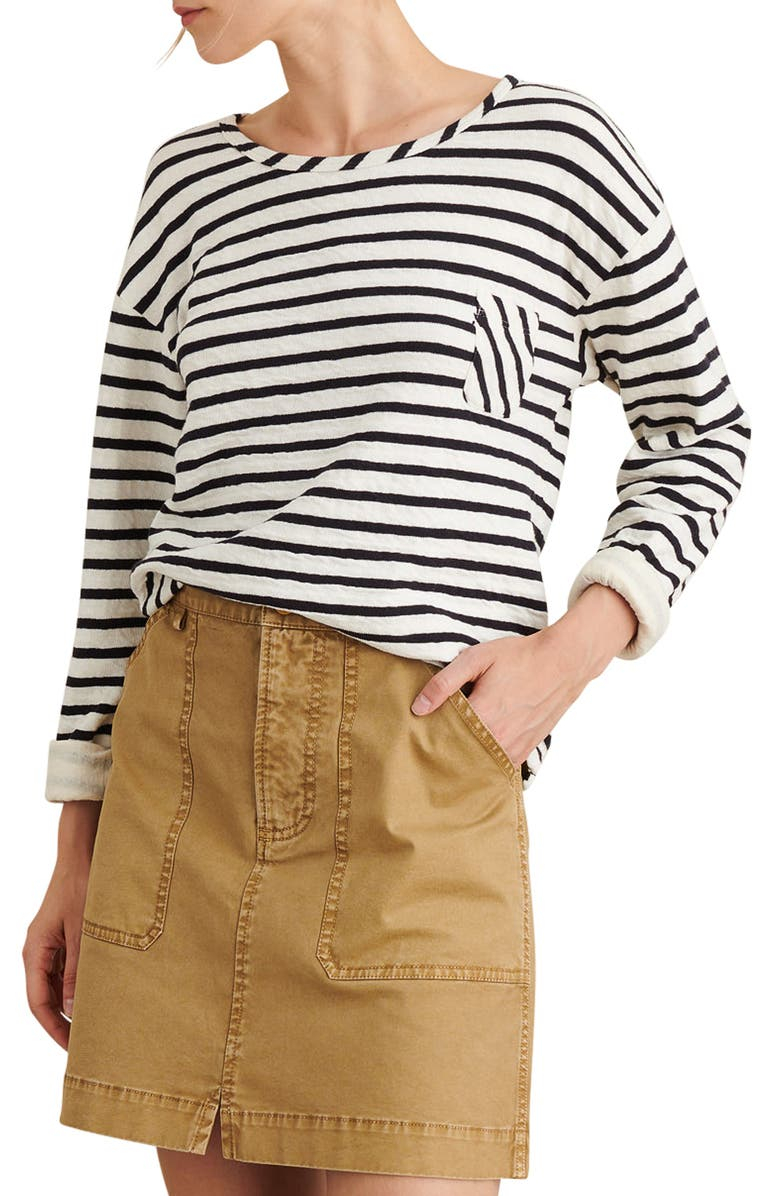 ALEX MILL Stripe Pocket Double Knit Pullover, Main, color, WHITE/ NAVY