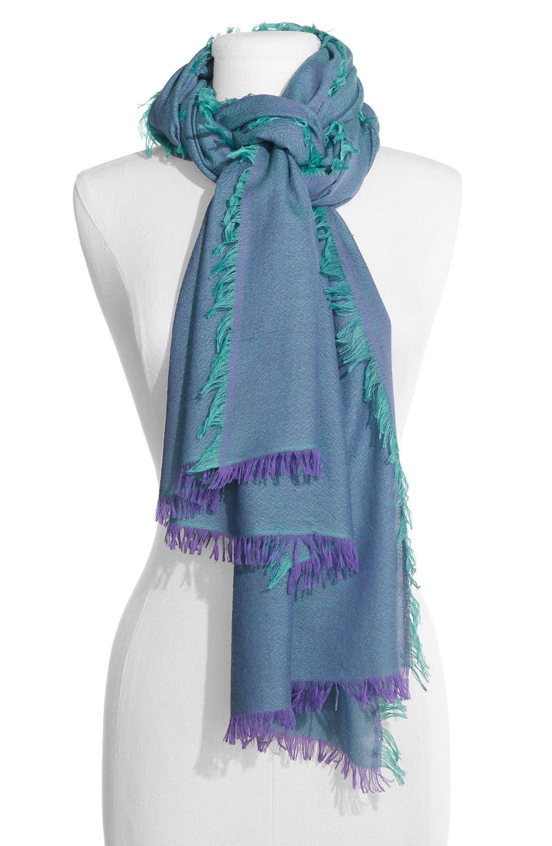 ,                             'Eyelash' Colorblock Cashmere Wrap,                             Main thumbnail 61, color,                             500