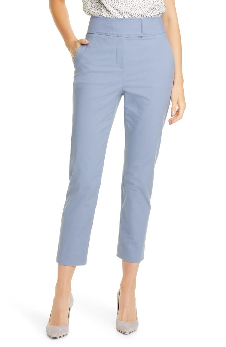 TAILORED BY REBECCA TAYLOR Stretch Cotton Suit Pants, Main, color, BLUE STONE