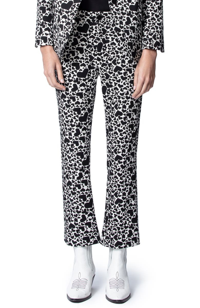 ZADIG & VOLTAIRE Polis Jac Coeur Heart Print Trousers, Main, color, VANILLE