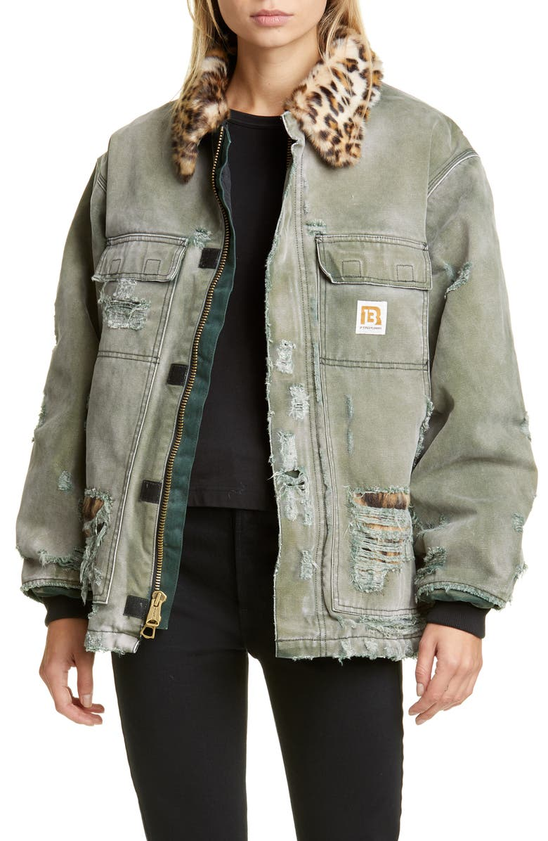 R13 Vintage Ripped Arctic Quilt Lined Jacket with Faux Fur Trim, Main, color, MOSS